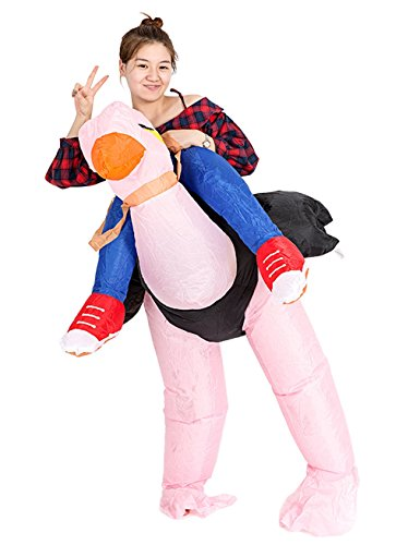Ostrich Racer Costume (Gameyly Inflatable Adult Animal Rider Halloween Costumes Fancy Dress Party Outfit Ostrich)