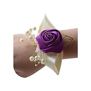 special shine-shop Hand Flowers Satin Wedding Wedding Corsage Wrist Flower Pink Yellow Silver for Bridesmaid,Light Purple 86