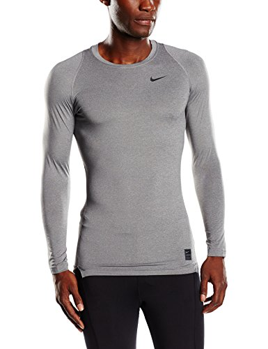 Nike Mens Pro Cool Compression Long Sleeve Shirt Carbon Heather/Black 703088-702 Size Small