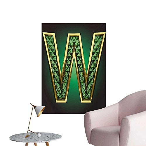 Anzhutwelve Modern Wallpaper Golden Figure with Emerald Tones Alluring Color Letter Super Hero Icon Artsy GraphicJade Green W32 xL36 Poster Print -