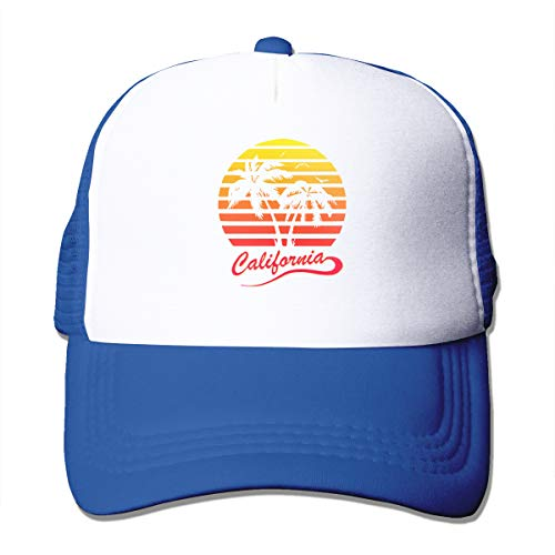 Unisex Trucker Hat California 80s Sunset Women Adjustable Mesh Cap Fashion Trucker Hat Blue ()
