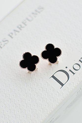 Four-Leaf Clover Earrings Earring Dangler Eardrop Women Girls Ear Clip Non Pierced Creative Gift Woman Elegant Buckle (Black Models Earring