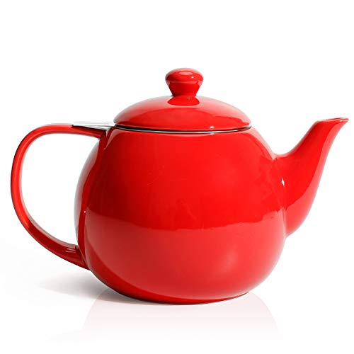 Sweese 221.104 Teapot, Porcelain Tea Pot with Stainless Steel Infuser, Blooming & Loose Leaf Teapot - 27 ounce, Red (Very Small Tea Kettle)