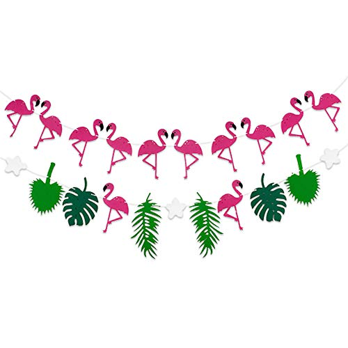 FLAMINGO PINEAPPLE LEAVES BANNER GARLAND - No DIY Required. 2 Pack | Felt Banner |Flamingo Pineapple Party Decorations | Monstera Palm Leaves | Luau Tropical Jungle Beach Safari Party Supplies Theme -