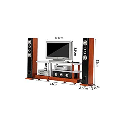 iLAZ 1:12 Scale Dollhouse Furniture Miniature Widescreen Television DVD HiFi Stereo Audio System Wood Tv Stand Set for Doll House, Miniature Accessory Kids Pretend Toy, Birthday Handcraft Gift: Toys & Games