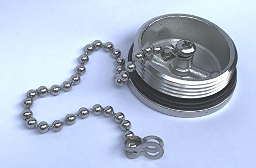 Alemon Marine Boat Replacement for Gas Cap Stainless Steel Deck Fill Filler Cap with Chain,1.5 ()