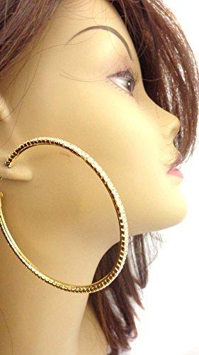 Large Gold Rhinestone Hoop - Rhinestone Hoop Earrings 3 Inch Hoop Crystal Gold Tone Hoop Earrings