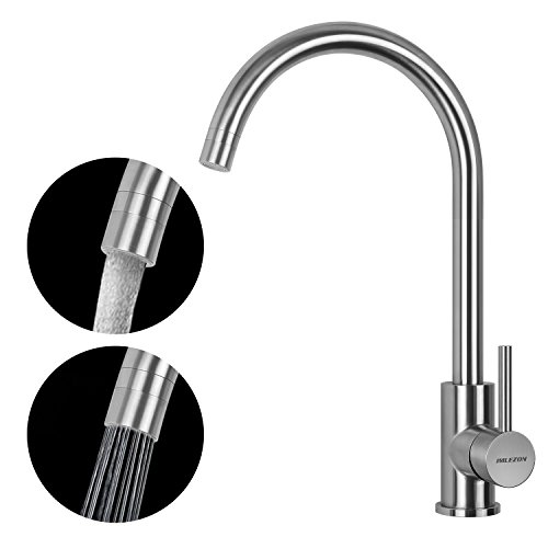 Stainless Steel Kitchen Faucet Gooseneck Bar Sink Faucet with Single Lever Handle Two-function Nozzle