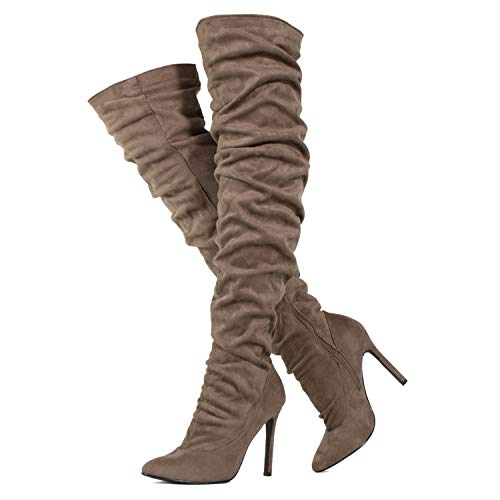 - RF ROOM OF FASHION Women's Slouchy Vegan Suede Stiletto Heel Over The Knee Boots Taupe Size.9