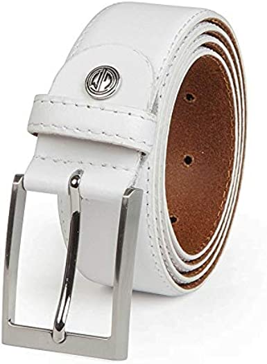 LINDENMANN Genuine Leather Belt MenBelts for Men, curved, 35 mm, white, FarbeColor:white, Size USEU:Waist Size 33.5 M EU 85 cm