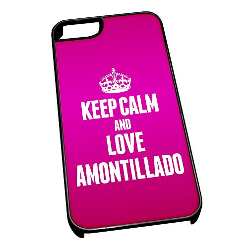Nero cover per iPhone 5/5S 0766Pink Keep Calm and Love Amontillado