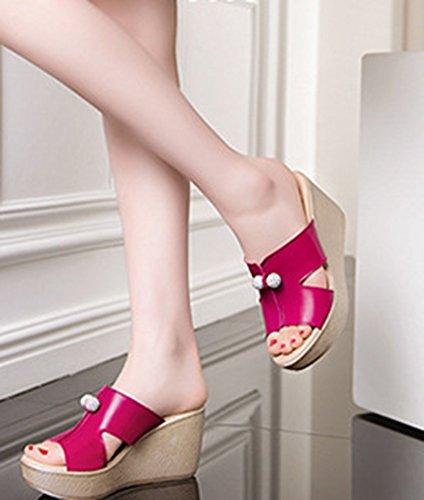 Mules Compensé Aisun Cool Strass Femme Rouge Talon Orteil Confortable Fille a8wxO8qR