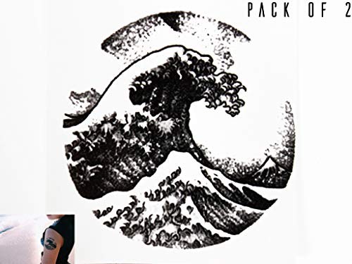 Novu Ink Hokusai Wave Circle Print Temporary Tattoos | PACK OF 2 | Fake Tattoos | Art Design Transfers/Stickers | For Body, Arm, Leg etc | (7.5cm x 7.5cm)