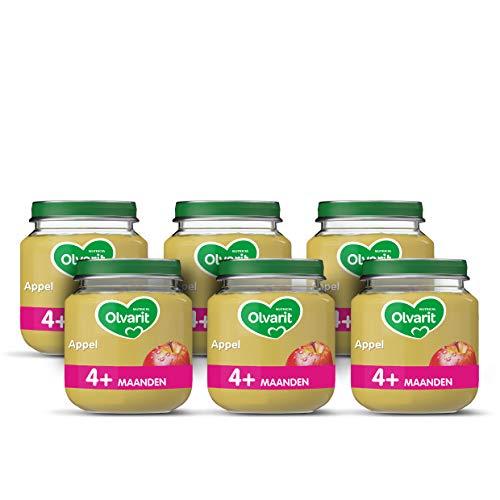 Olvarit Appel – fruithapje voor baby's vanaf 4+ maanden – 6×125 gram babyvoeding in een fruitpotje