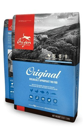 25# Bag Orijen Original Dry Dog Food made with FRESH FREE-RUN CHICKEN AND TURKEY, WILD-CAUGHT FISH AND NEST-LAID EGGS