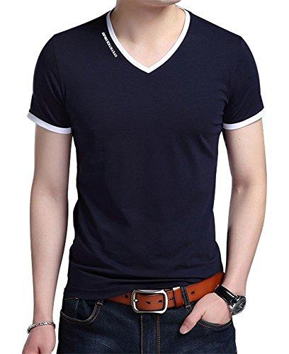 JNC Men's Summer V-Neck Casual Slim Fit Short Sleeve T-Shirts Cotton Shirts (Medium, Navy Blue) by JNC