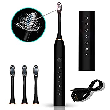 Ultrasonic Electric Toothbrush Rechargeable 5 Modes 2 Min Timer USB Charging