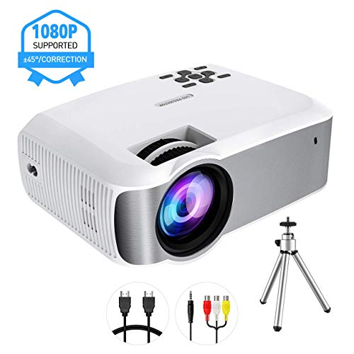 "Mini Projector, TOPELEK Video Projector (2019 Upgraded) 1080P Supported with 5000 Lumens & ±45° Vertical Keystone Correction; LED Portable Projector with 3000:1 Contrast Ratio, 200"" Display (w/Tripod)"