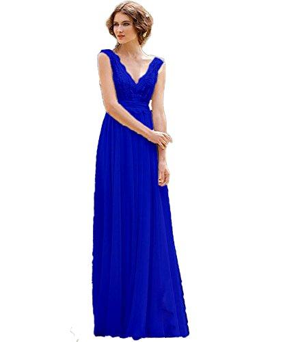 Strand Braut Sleeve V Chiffon Cap Royal Kleid Blue CoCogirls Ausschnitt Brautkleider Bohemien Hochzeitskleider Abendkleid 84SqXwEd