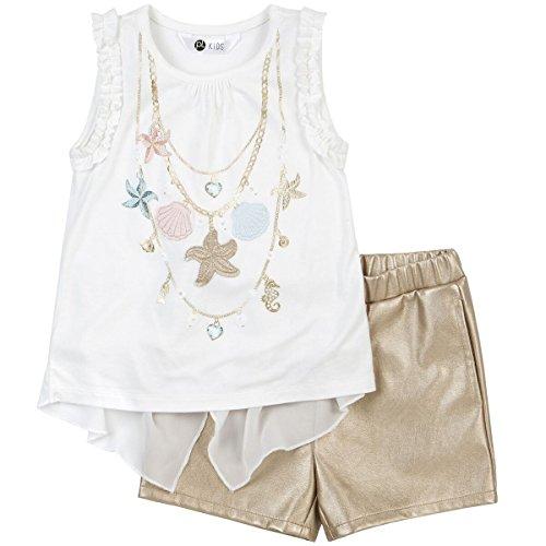 (Petit Lem Little' Sea Princess Girl 2pc Set Top and Shorts Knit, 101, 6)