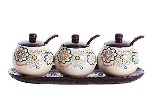 VanEnjoy Hand Drawing Floral Ceramic Sugar Spice Containers Porcelain Jar with Lids Tray Spoons Condiment Jar Set of 3