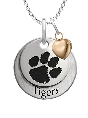 Clemson Tigers Sterling Silver Stacked Mascot Charm Necklace with Heart ()