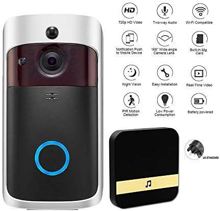 ドアベル付きビデオドアベル、ワイヤレススマートドアベル、リングドアベル、720P HD 166°広角、WiFiセキュリティカメラ、ナイトビジョン、PIRモーション検出(バッテリーを除く)
