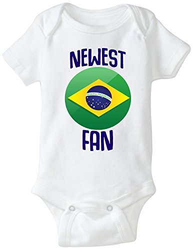 nobrand Brasil Bodysuit Newest Fan Brazil Soccer Infant Baby Girls Boys Personalized Customized Name and Number (12 Months, White Custom Name)