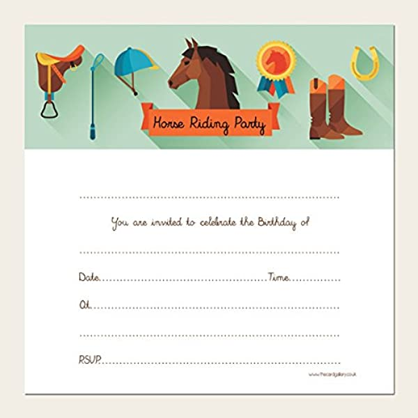 Kids Birthday Invitations - Horse Riding Party - Pack of 10 ...