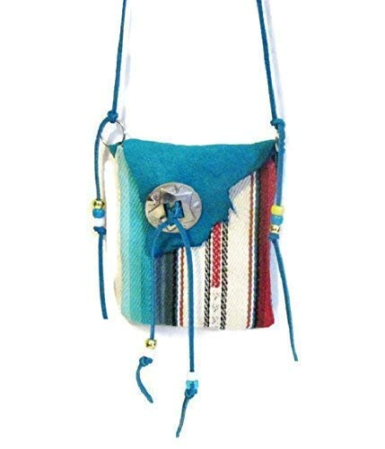 - Native American Style Medicine Bag Necklace Blue