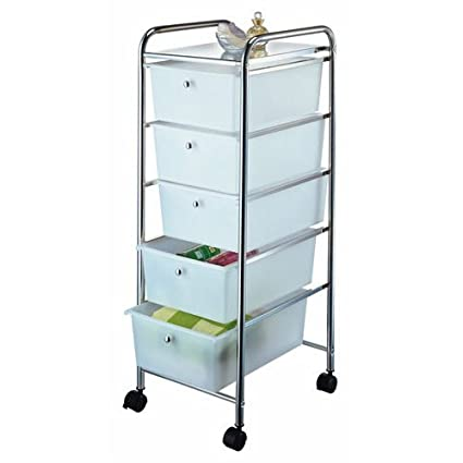 Bon HOMEBASIX G005 CH 5 Drawer Storage Cart, Chrome