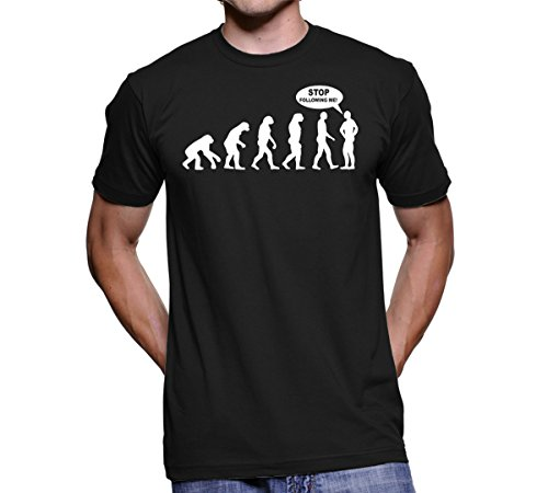 Funny T-shirt for Men - Stop Following Me - One of the Best Gifts for Him Under 20 - Guys Will Love This Tshirt - Black -2XL