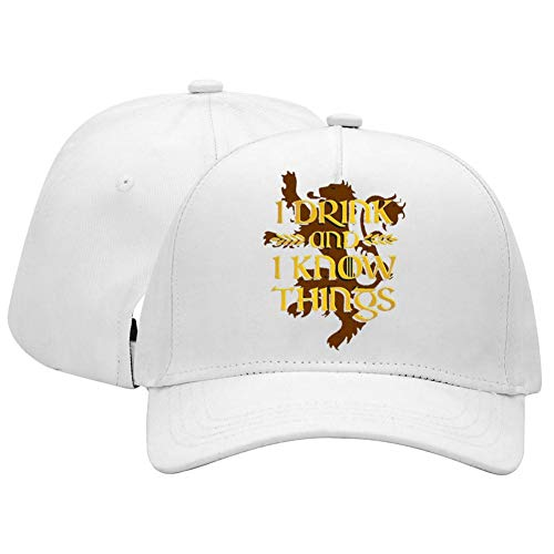 Price comparison product image I Drink and I Know Things House Lannister Unisex Adjustable Baseball Cap for Men and Women White