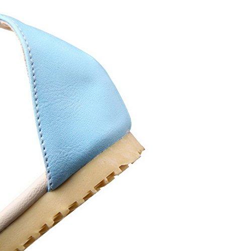 GMBLA012637 Couleur Talon AgooLar Femme Sandales Bleu Boucle Bas à Unie Matière Mélangee Er7vYrxq