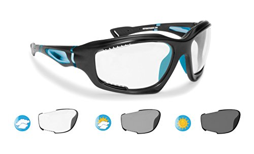 Sport Photochromic Antifog Sunglasses cat. 0-3 for Cycling Running Golf Ski Watersports - Anticrash Ventilated Lenses by Bertoni Italy - F1000D1 Mat Black/Blue - Wraparound Windproof Sports - Sunglasses Lens Cycling 3