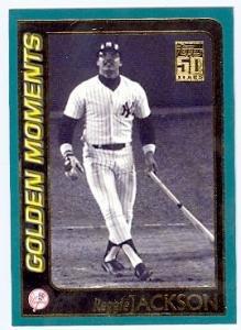 (Reggie Jackson baseball card (New York Yankees) 2000 Topps #381 1977 World Series 3 Home Run Game)