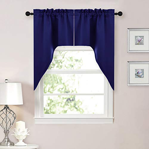 Lined Tailored Curtain - NICETOWN Home Fashion Kitchen Tier Curtains- Tailored Scalloped Valance/Swags (Dark Blue, 1 Pair, W29 X L38 inches Each Panel)