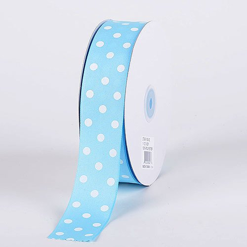 BBCrafts 7/8 inch x 50 Yards Grosgrain Polka Dot Ribbon Decoration Wedding Party (Baby Blue with White Dots)