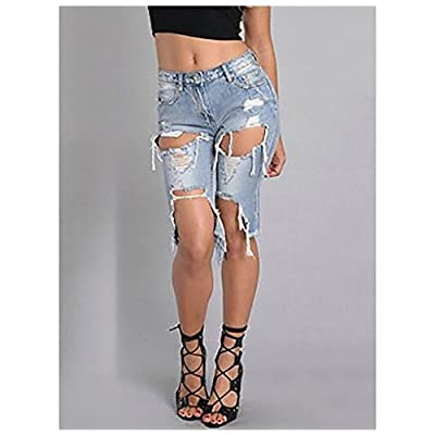 Women Sexy Destroyed Ripped Bermuda Shorts Outfit Denim Cut Hot Pants Army Jeans at Women's Clothing store