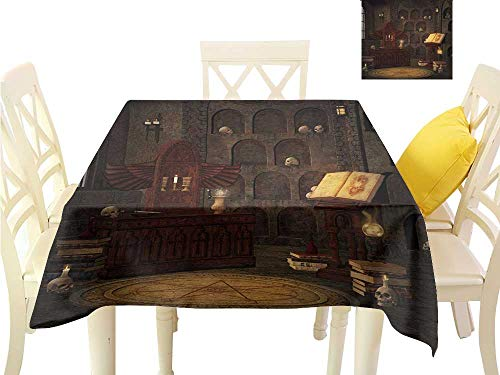 Angoueleven Indoor Table Cloth Gothic,Chamber of Secret Rite with Skulls on The Wall Sacred Sorcery Spell Image Print,Brunette Brown Picnic Table Cloth W 50