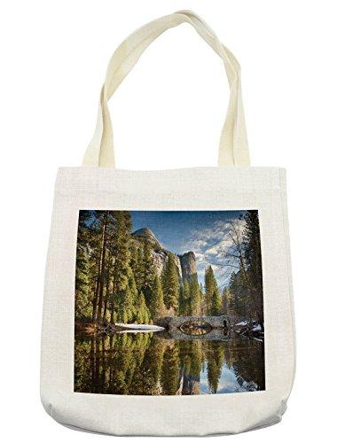 Lunarable Yosemite Tote Bag, Stoneman Bridge in Morning at Yosemite National Park Winter with Evergreen Trees Print, Cloth Linen Reusable Bag for Shopping Groceries Books Beach Travel & More, Cream
