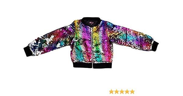 9df6efe852f Girls JoJo Siwa Rainbow Flip Sequin Bomber Jacket (Large 10-12)