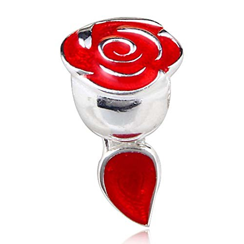 Enamel Sterling Silver Flower Beads - Rose Charm with Red Enamel 925 Sterling Silver Flower Charm Love Charm Valentine Charm for Pandora Bracelet (C)