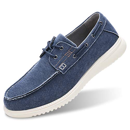 Men's Moc Toe Dress Sneaker Lightweight Canvas Boat Shoes Casual Lace Up Walking Outdoor Driving Deck Shoes Blue 10 ()