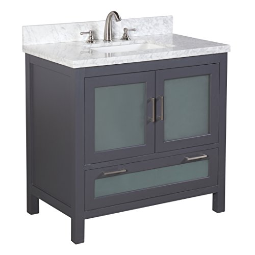 "Kitchen Bath Collection KBC-G36GYCARR Manhattan Bathroom Vanity with Marble Countertop, Cabinet with Soft Close Function & Undermount Ceramic Sink, 36"", Carrara/Charcoal Gray"