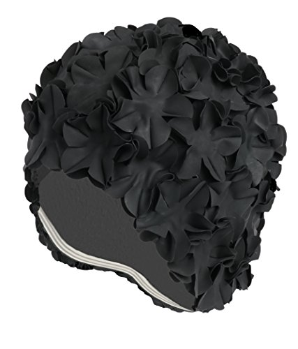 Floral Petal Vintage Style Latex Swim Bathing Cap - Black