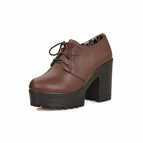 VogueZone009 Women's Solid PU Pumps-Shoes with Solid and Lace-up, Brown, 39