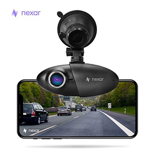 Nexar Dash cam with Suction Cup, 1080p Full HD, Cloud Storage for Video Clips and 32GB SD Card Included, Small Discreet 155 Wide Angle Car Camera, G-Sensor and GPS, Loop Recording, Easy to Install