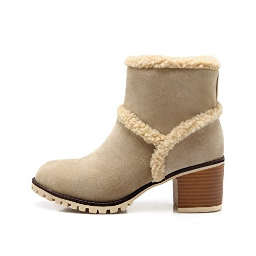 Heels top Boots Allhqfashion Low Imitated Kitten Apricot Solid Pull Suede on Women's v6zqB76I