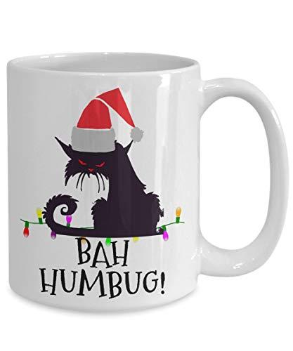 Cat Mug Cartoon Funny Cup- Mad Cat- Bah Humbug Angry Scrooge in Santa Hat -Coffee Mug, Tea Mug, Cute Mug - Gift, cute gift, Souvenir, 11oz, 15oz